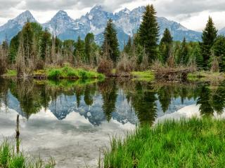 обои Глухое озеро у подножия гор фото