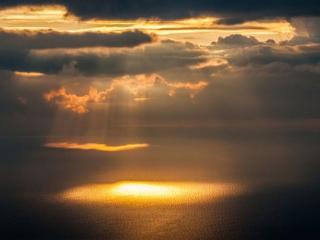 обои Небо над заливом Мон-Сен-Мишель,   Нормандия,   Франция фото