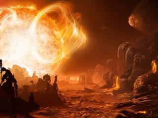 обои Восход солнца на оплавленной планете фото