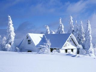 обои Заснеженный одинокий домик фото
