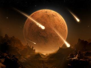 обои Восход планеты в метеоритном дожде фото