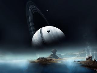 обои Восход Сатурна на чужой планете фото