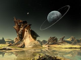 обои Ночное небо на чужой планете фото