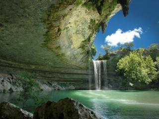 обои Грот с водопадом фото