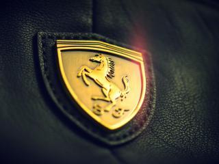 обои Золотой логотип Ferrari на коже фото