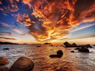 обои Закат на побережье острова Калимантан. Индонезия фото