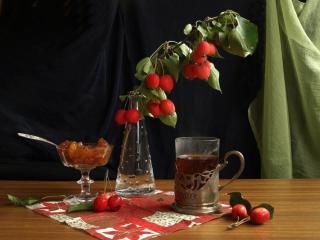 обои Натюрморт - Яблочки,   варенье,   чай фото