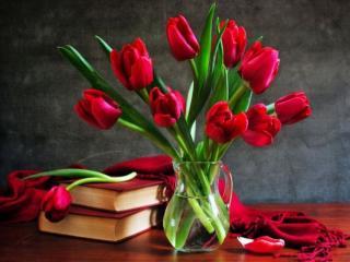 обои Натюрморт - Алые тюльпаны и книги фото