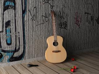 обои для рабочего стола: Одиноко стоящая гитара у стены
