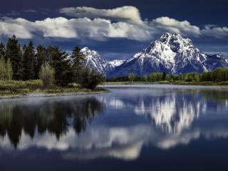 обои Зеркальное отражение горы и леса фото