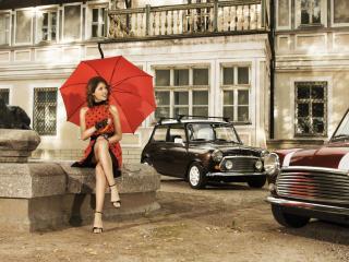 обои Девушка с зонтом ретро стиль фото