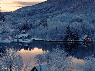 обои Зимний пруд на краю деревни фото