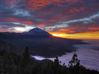 обои Горы,   закат и туман фото