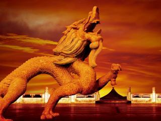 обои Каменный китайский дракон фото