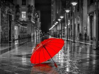 обои Красный зонт на серой улице фото