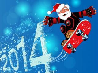 обои Дед Мороз на скейте фото
