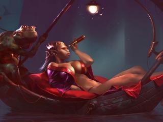 обои Лягушачья царица в лодке фото