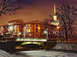обои Санкт-Петербург. Зимний вечер фото