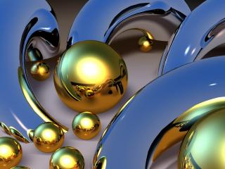 обои для рабочего стола: Шары желтого металла
