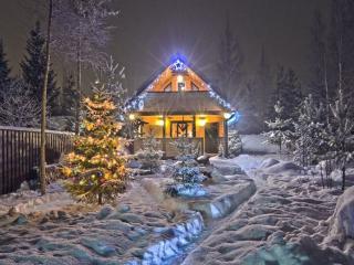обои для рабочего стола: Домик в деревне,   Рождество. Рождество