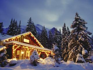 обои Новогодний дом в горах фото