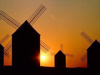 обои Мельницы на восходе фото