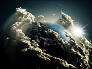 обои Земля в облаках фото