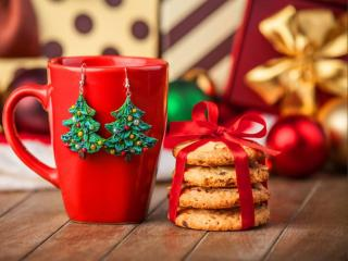 обои Новогоднее украшение для бокала и печенья фото