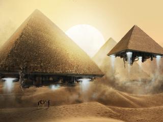 обои Летающие Египетские пирамиды фото