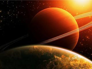 обои Сатурн в солнечном свете фото