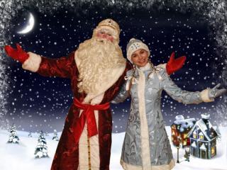 обои Дед мороз и снегурочка фото
