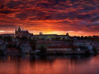 обои Огненный закат в Праге фото