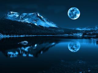 обои Вечер в горах у озера и полная луна фото