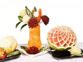 обои Ваза из тыквы с цветами,   арбуз,   дыня,   манго фото
