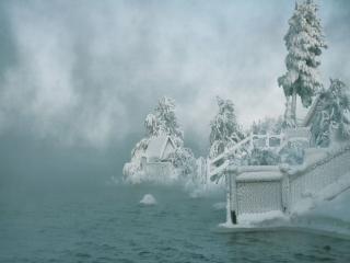 обои Морозный туман у реки фото