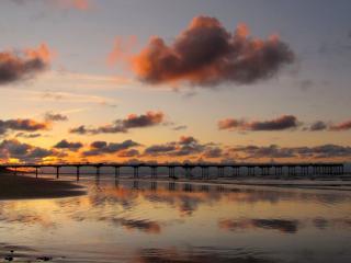 обои Пирс,   море и закат фото