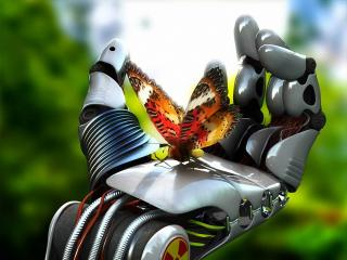 обои Бабочка на руке робота фото