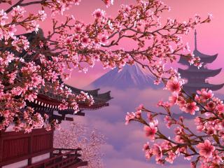 обои Красота цветущей сакуры на фоне горы фото