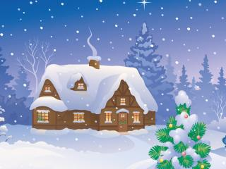 обои Лесной домик в снежном лесу фото