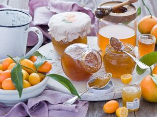 обои Мандарины и мандариновый джем фото