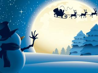 обои Снеговик машет вслед фото