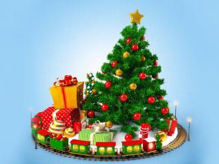 обои Украшенная елка с яркими подарками фото
