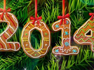 обои Логотип Нового года из печенья фото