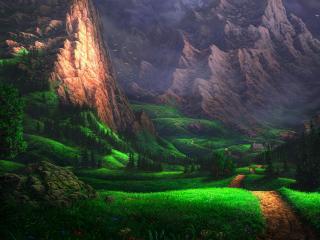 обои Живописная долина у скалистых гор фото