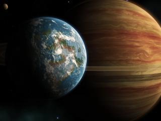 обои Встреча двух планет фото