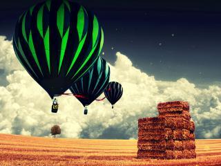 обои Воздушное трио над скошенным полем фото