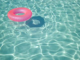 обои Розовый круг на прозрачной воде фото