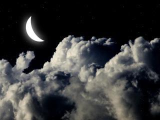 обои Ночное небо,   облака и полумесяц фото