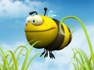 обои Пчелка кормушка фото