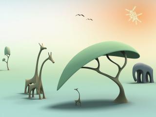обои Прогулка жираф фото